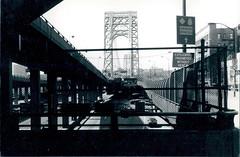 George Washington Bridge - NYC - c.1995 (rik-shaw 黄包车) Tags: gwb rikshaw blekkyschorr newyorkcity bridge newjersey hudsonriver i95 nyc nikonfg20 newyorkny commute toll infrastructure blackwhite crossbronxexpressway