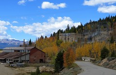 Delightfully Derelict (Patricia Henschen) Tags: publicservice company electric buildings vintage commercial autumn aspen mountain mountains mtmassive clouds road roadside historicdistrict leadville colorado topoftherockies scenichistoricbyway highcountry sawatch range paved mineralbelt gold silver miningcamp fallcolors leafpeeping deserted abandoned