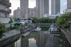 tsukuda-2004-ps-w (pw-pix) Tags: canal canaloffthesumidariver moorings jetties oiers water lowtide boats workboats fishingboats houses apartments old traditional oldneighbourhood sheds trees lights balconies buildings reflections shadows viewfromtsukudakobashi viewfromtsukudakobashibridge tsukuda chuoku tokyo tokyoto japan