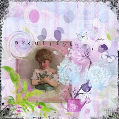 Beautiful (thewritingreader) Tags: girl garden flower butterfly