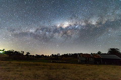 Milky Way over a Farm Shed (Merrillie) Tags: night glitter landscape milkyway astrophotography australia rural newsouthwales astro nightsky winter country astronomy outside tree stars shed sky gresford farm pinetree outdoors astrology nsw