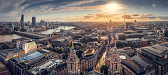 Sunset from St. Paul's (amipal) Tags: 175mm capital cathedral city cityscape clouds england gb greatbritain london manuallens panorama sky stpauls uk unitedkingdom urban voigtlander sunset