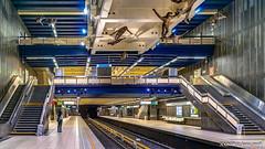 Brussels, Belgium: Comte de Flandre / Graaf van Vlaanderen metro station (Lines 1 & 5); Artist Paul van Hoeydonck employs 16 bronze mannequins suspended from the station ceiling (nabobswims) Tags: be belgium brussels bruxelles comtedeflandre graafvanvlaanderen hdr highdynamicrange ilce6000 lightroom metro mirrorless nabob nabobswims photomatix rapidtransit sel18105g sculpture sonya6000 station subway ubahn