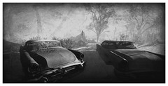 Breakdown (Loegan Magic) Tags: secondlife bajaisles vintage blackandwhite grunge cars automobile classiccars wrecks beach