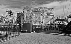 Coney Island Steeplechase (Robert S. Photography) Tags: coneyisland steeplechase amusement park ride wonderwheel bw monochrome summer brooklyn newyork sony portrait dscwx150 iso100 august 2018