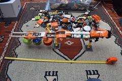 SHIPtember 2018 WIP: Day 6 (Harding Co.) Tags: lego space spaceship shiptember cargo freighter ship big long orange white grey pods minifigure flight flying vehicle wip progress diary engine