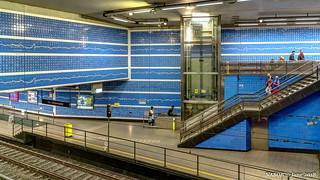 Brussels, Belgium: Parvis de St Gilles, St Gillis Voorplein tram station; Artist Françoise Schein's ceramic tiles present the relation between European borders and human rights.