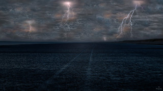 Thunderstorm Lightning on the beach....