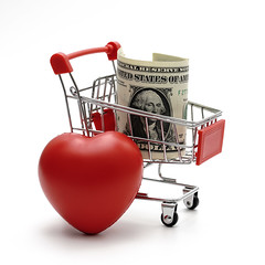 dollar money and heart with Shopping Cart On White Background Shot In Studio (creative guide) Tags: abstract account background bank banking basket business buy buyonline card cards cart cash chip close closeup commerce commercial concept consumer credit customer debit empty finance financial internet internetshopping isolated market modern money nobody online pay paying payment purchase retail sale saving security shop supermarket technology trolley wallet white dollar heart thailand tha
