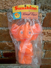 Sunshine Elephant (The Moog Image Dump) Tags: vintage soft vinyl squeaker sunshine elephant toy figure fun orange mettoy