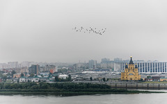 Nizhny Novgorod, Russia (Oleg.A) Tags: ancient autumn nizhnynovgorod church nature water city cityscape bell clouds morning river tower orthodox architecture park antique yellow volga landscape russia cloudy outdoor oka town exterior blue colorful old cathedral sky dome cross street design style