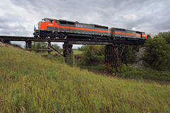 Crossing Turtle Creek (Moffat Road) Tags: dakotamissourivalleywestern dmvw emd cowl northdakota nd train railroad locomotive turtlecreek trestle sd50f 5454 coaltrain unittrain washburn merida
