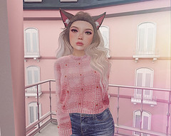 strawberry kisses (pcstelmoon) Tags: secondlife neko pastel sl virtualreality strawberries pink aesthetic