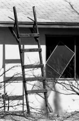 Entropy (squirtiesdad) Tags: entropy disorder empty house ladder window screen diyfilmscanning selfdeveloped epson v600 monochrome blackandwhite bw bwfp analogue analog aristaedu arista iso100 35mm film vivitar 220sl mamiyasekor 135mm f28 lens