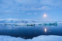 Moon lagoon (rockym93) Tags: jokulsarlon glacier lagoon vatnajokull iceland moon moonlight icebergs snow cold