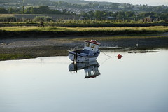 Limbo. (JamieHaugh) Tags: axmouth seaton devon england uk gb britain outdoors sony alpha zeiss ilce7rm2 a7rii boat limbo water landscape reflections river still quiet silent grass hill lost sailing