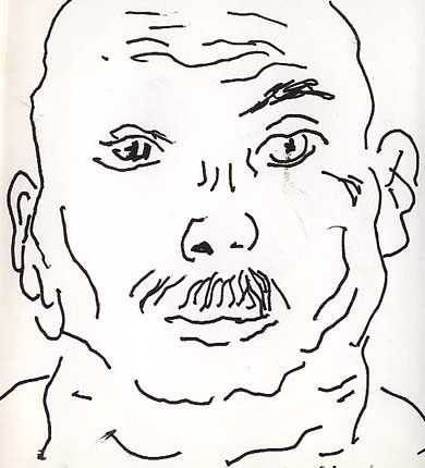 portrait drawing in line ink on paper expressive portraits drawings face sketch contemporary sketches man had black and white artwork study learn how to draw in progress for beginner