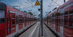 2018 - Germany - Dachau - S-Bahn Station (Ted's photos - For Me & You) Tags: 2018 cropped germany nikon nikond750 nikonfx tedmcgrath tedsphotos vignetting sbahn dachaugermany dachau train platform railway railroad sbahnmünchen red redrule