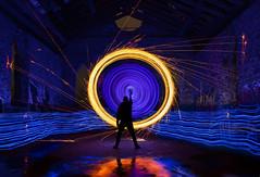 Midnight Vortex (vanessa_macdonald) Tags: blue firespinning firespin portal abandoned urbex night nightphotography canoncanada cowichan butterchurch urbanexploring ruin lightart lightpainting lightjunkies lpwa longexposure lights spinning vortex creative
