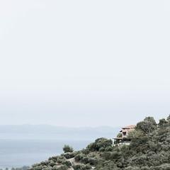 The house on the hill (Erik Schepers) Tags: sea greece minimal minimalist halkidiki landscape travel view composition sky negativespace landschap hill hills olives