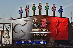 083018-222F (kzzzkc) Tags: nikon d750 usa illinois chicago baseball mlb guaranteedratefield comiskeypark redsox whitesox bostonredsox chicagowhitesox scoreboard flags halfmast senatorjohnmccain unlimitedphotos