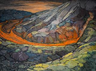 Guðmundur frá Miðdal - Mt Hekla Eruption, 1947 at Reykjavík Art Museum Kjarvalsstaðir Reykjavik Iceland