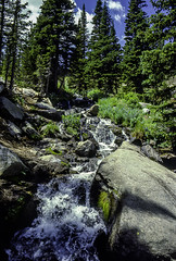 Trailside Cascade (woodchuckiam) Tags: cascade trailside water rocks trees vegetation stream sky clouds eastlongspeaktrail rockymountainnationalpark colorado