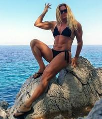 The power of stones... (Madam Mysteria) Tags: power stone petra legs biceps abs muscle bikini flipflops strongwoman mysteria
