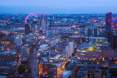 Red Eye, Blue Hour (DMontalbano) Tags: 500px london uk the shard eye blue hour dawn long exposure cityscape city trains dan montalbano photography architecture shangri la view from above