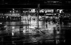 Helsinki (Chilanga Cement) Tags: fuji fujix100f fujifilm bw blackandwhite monochrome helsinki finland night reflections reflecting reflection reflective waterreflection rain