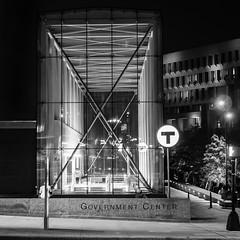 Illuminated Station (iMatthew) Tags: penf olympuspenf olympuspen handheld night monochromatic monochrome bw blackandwhite boston subwaystation tstation mbta governmentcenter