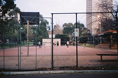 (homesickATLien) Tags: 35mm film kodak art analog expired mjuiii melbourne victoria australia expression street streetball court game streetlife bball basketball fitzroy