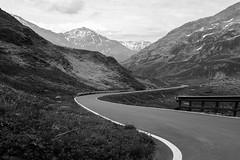 Road in Valchiavenna (Tobia Scandolara) Tags: blackandwhite biancoenero paesaggio strasse landscape sondrio madesimo montespluga italy lombardia route strade strada road bnw splugapass spluga valchiavenna