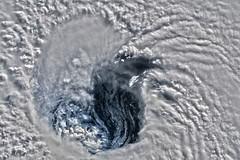 Hurricane Florence's Eye 7, variant (sjrankin) Tags: 15september2018 edited nasa iss iss056 hurricane hurricaneflorence eye hurricaneeye clouds storm atlanticocean iss056e162085