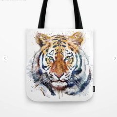 Tiger Head watercolor Tote Bag (marianv2014) Tags: tote bags tiger tigers animal animals animalart wildanimal wildanimals face wildlife animalsofprey watercolor watercolour wallart walldecor tigerdecor tigerposter tigerwallart bengaltigers roomdecor orange green yellow artgifts affordableart wildcreature head heads fineart carnivores cat cats bigcat bengaltiger splashes splatters squareformat moderndecor illustration artwork art colorful beautiful whitebackground contemporary zoology single decor