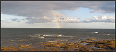 Forces Of Nature (M E For Bees (Was Margaret Edge The Bee Girl)) Tags: northumberland newbigginbythesea coast sea outdoors holiday windturbines waves canon rainbow colours spectrum seaside rocks sun summer sky clouds grey white