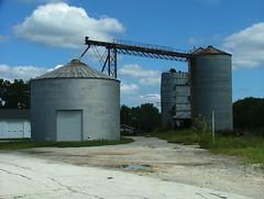 Bridged (jHc__johart) Tags: kansas bucyrusks storage facility storagefacility road sky building sunflower grass