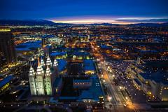 Sunsets on Salt Lake City (Thomas Hawk) Tags: america lds ldschurch ldstemple mormon mormonchurch mormontemple mormonism slc saltlakecity saltlaketemple usa unitedstates unitedstatesofamerica utah architecture sunset temple us fav10 fav25 fav50 fav100
