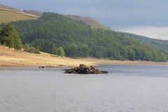 Remains of St John's church at Derwent     Ladybower  August 2018 (dave_attrill) Tags: church stjohns demolished derwent village ladybower reservoir ruins low water brickwork stonework site august 2018 bamford peak district national park derbyshire sky landscape tree mountain river mangrove forest road grass people photo