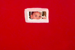 Hello? (violaferenc) Tags: child kid red wall hide seek see small framed
