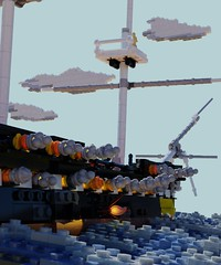 Broadside Might (ORION_brick) Tags: lego ship boat render mecabricks uss constitution us navy naval war 1812 1794 old ironsides broadside cannon fire light ocean sea water cloud smoke battle float wood tall sail sailing mast sun