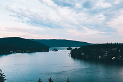 View from Quarry Rock (Top KM) Tags: reflection water lake sunset sky clouds blue trees summer travel forest beautiful landscape canada vancouver british columbia north sundown cloudscape cloudy no person nobody outdoors outdoor outside hill nature bc mountain waterscape