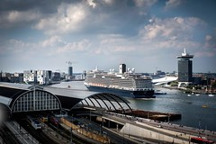 Cruiseship has left the passengers terminal in Amsterdam. (Mike Bink fotografie) Tags: mikebink cityscape ij centralstation skylounge fuji x100f fujifilm amsterdam cruiseship passengersterminal
