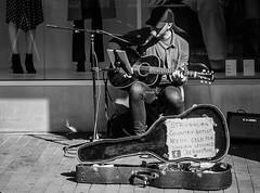 Country Musician..... (+Pattycake+) Tags: baseballhat mic street obscuredface musician microphone streetperformer music guitarcase singer guitar