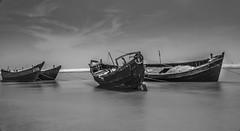Sound of Silence...Talsari !! (sandy_photo) Tags: bayofbengal seascape seabeach seacoast india orissa odhisa outdoor longexposure boats fishing fisherman community nd filter