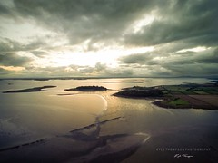 Strangford view (Kyle TKT) Tags: water drone islands strangfordlough newtownards clouds sunset reflection sky skyline sand kylethompson