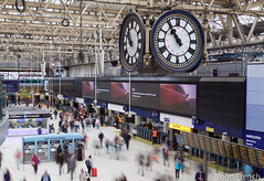 The Passage of Time (John French 108) Tags: london england unitedkingdom gb station clock time passengers people concourse barriers architecture building tickets train longexposure platforms noticeboards journey waterloo structure travellers