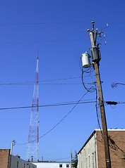 Tower and Pole (pjpink) Tags: tower tv blue sky urban utilitypole pole scottsaddition rva richmond virginia august 2018 summer pjpink 2catswithcameras