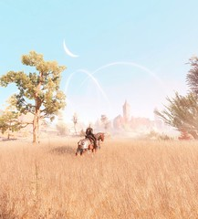 Geralt of Rivia (kevin_grimes) Tags: witcher 3 tw3 geralt cavalo lua arvore grama céu castelo