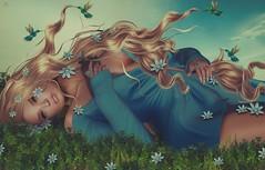 Miranda~little blue flowers... (Skip Staheli *10 YEARS SL PHOTOGRAPHER*) Tags: skipstaheli secondlife sl avatar virtualworld flowers grass hummingbirds hair blonde mirandabrinner blue fantasy dreamy digitalpainting